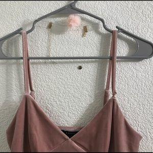 F21 Dusty pink velvet dress bundle w/ choker 🎀